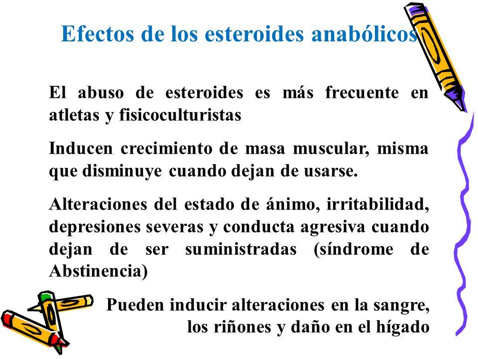 Efectos de los esteroides anabólicos El abuso de esteroides es más frecuente en atletas y fisicoculturistas Inducen crecimiento de masa muscular, mism