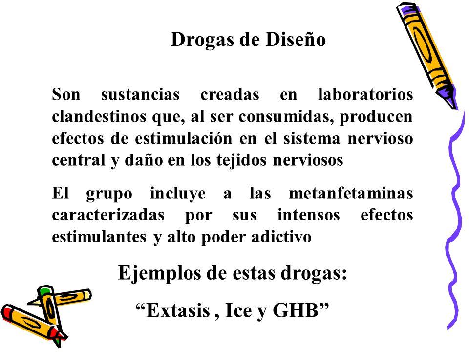 Drogas de Diseño Son sustancias creadas en laboratorios clandestinos que, al ser consumidas, producen efectos de estimulación en el sistema nervioso c
