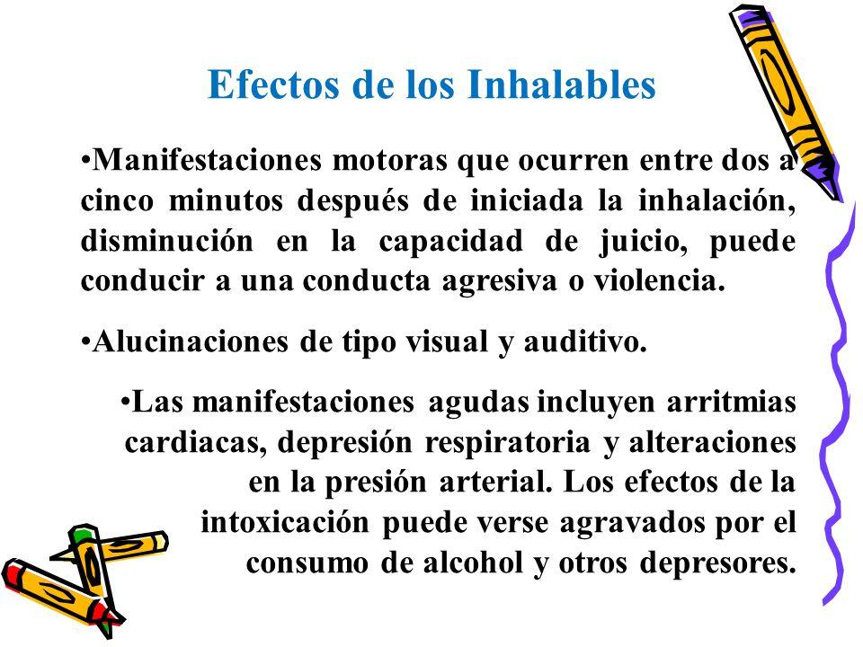 Efectos de los Inhalables Manifestaciones motoras que ocurren entre dos a cinco minutos después de iniciada la inhalación, disminución en la capacidad
