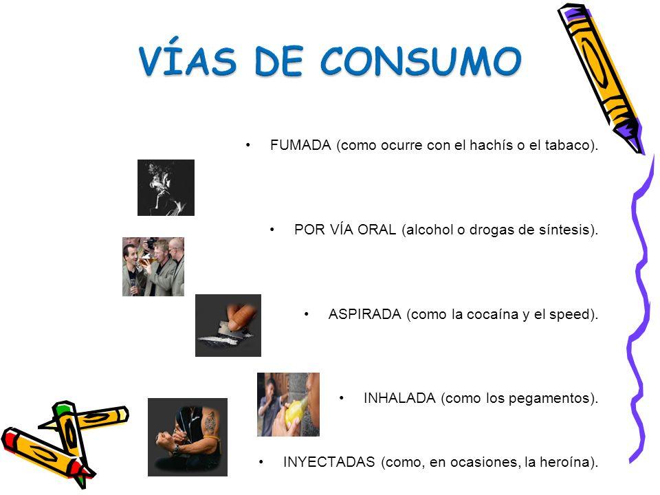 FUMADA (como ocurre con el hachís o el tabaco). POR VÍA ORAL (alcohol o drogas de síntesis). ASPIRADA (como la cocaína y el speed). INHALADA (como los