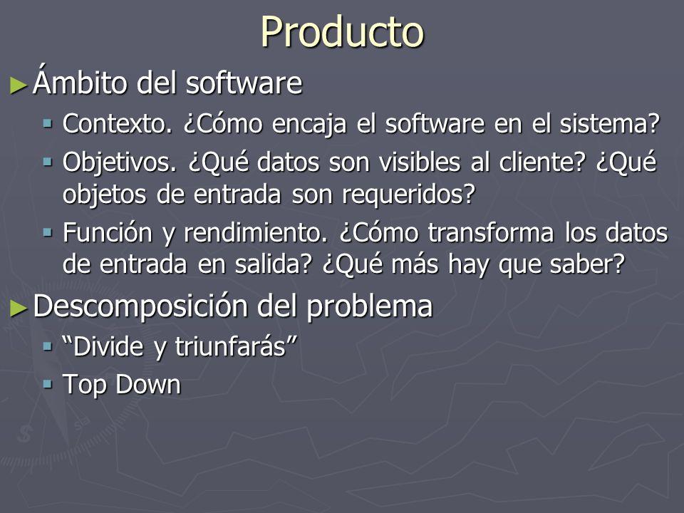 Producto Ámbito del software Ámbito del software Contexto. ¿Cómo encaja el software en el sistema? Contexto. ¿Cómo encaja el software en el sistema? O