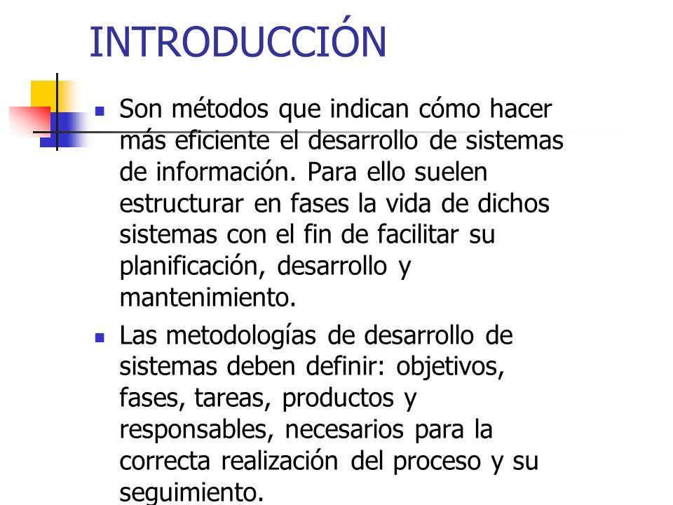 INTRODUCCIÓN Son métodos que indican cómo hacer más eficiente el desarrollo de sistemas de información. Para ello suelen estructurar en fases la vida