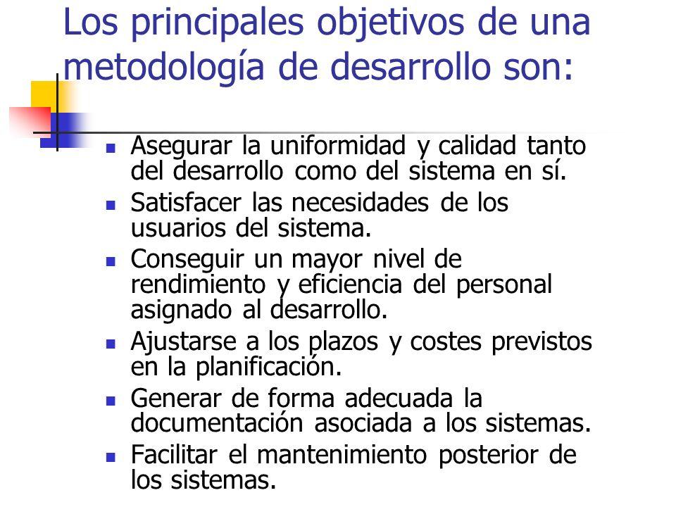 Los principales objetivos de una metodología de desarrollo son: Asegurar la uniformidad y calidad tanto del desarrollo como del sistema en sí. Satisfa