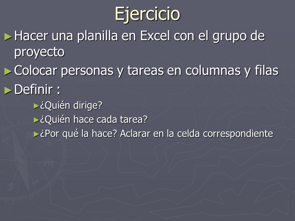 Ejercicio Hacer una planilla en Excel con el grupo de proyecto Hacer una planilla en Excel con el grupo de proyecto Colocar personas y tareas en colum