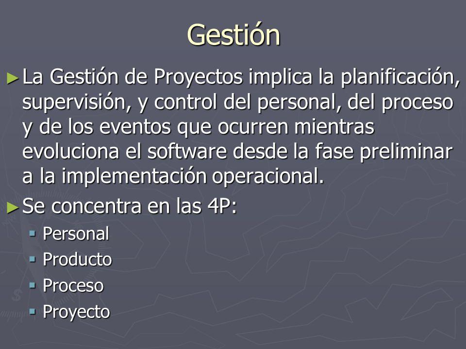 Gestión La Gestión de Proyectos implica la planificación, supervisión, y control del personal, del proceso y de los eventos que ocurren mientras evolu