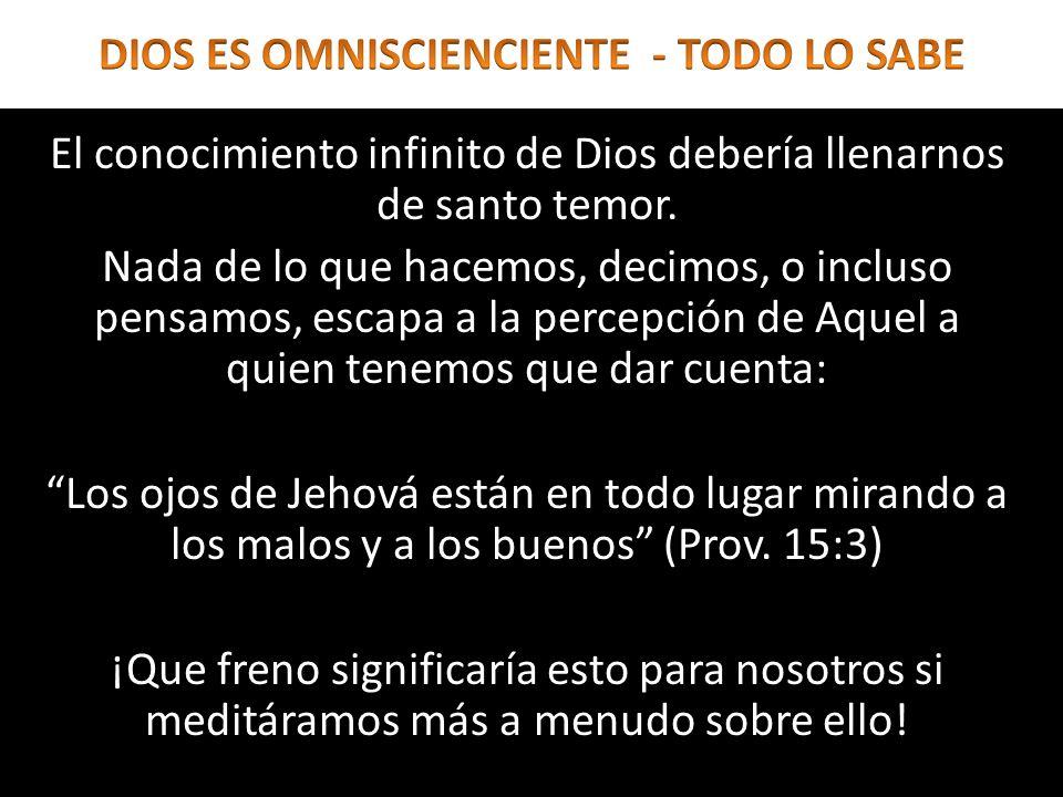 El conocimiento infinito de Dios debería llenarnos de santo temor. Nada de lo que hacemos, decimos, o incluso pensamos, escapa a la percepción de Aque