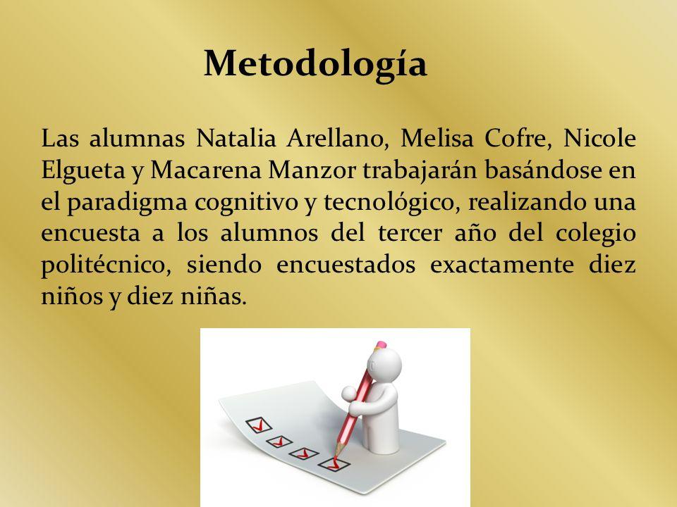 Metodología Las alumnas Natalia Arellano, Melisa Cofre, Nicole Elgueta y Macarena Manzor trabajarán basándose en el paradigma cognitivo y tecnológico,