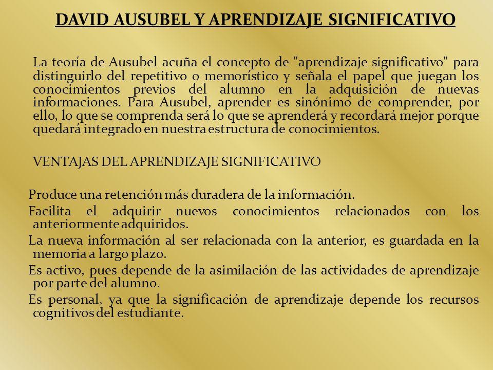 DAVID AUSUBEL Y APRENDIZAJE SIGNIFICATIVO La teoría de Ausubel acuña el concepto de