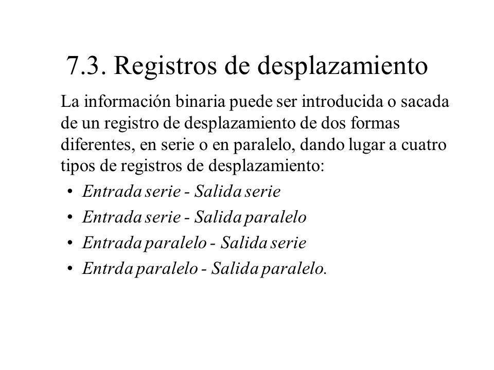 7.3. Registros de desplazamiento La información binaria puede ser introducida o sacada de un registro de desplazamiento de dos formas diferentes, en s