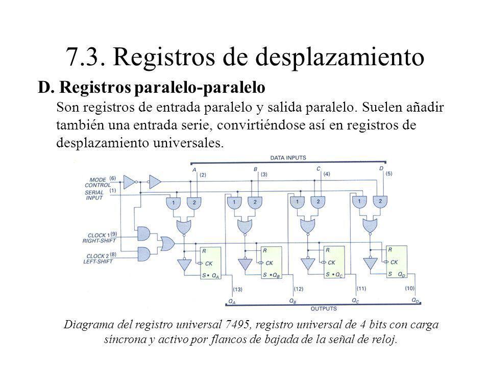 D. Registros paralelo-paralelo Son registros de entrada paralelo y salida paralelo. Suelen añadir también una entrada serie, convirtiéndose así en reg