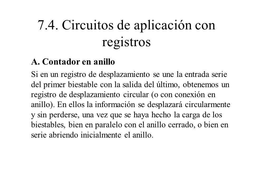 A. Contador en anillo Si en un registro de desplazamiento se une la entrada serie del primer biestable con la salida del último, obtenemos un registro