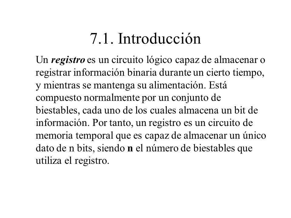 7.1. Introducción Un registro es un circuito lógico capaz de almacenar o registrar información binaria durante un cierto tiempo, y mientras se manteng