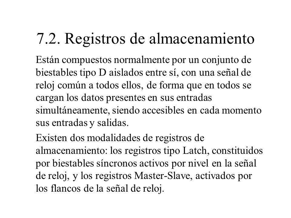 7.2. Registros de almacenamiento Están compuestos normalmente por un conjunto de biestables tipo D aislados entre sí, con una señal de reloj común a t