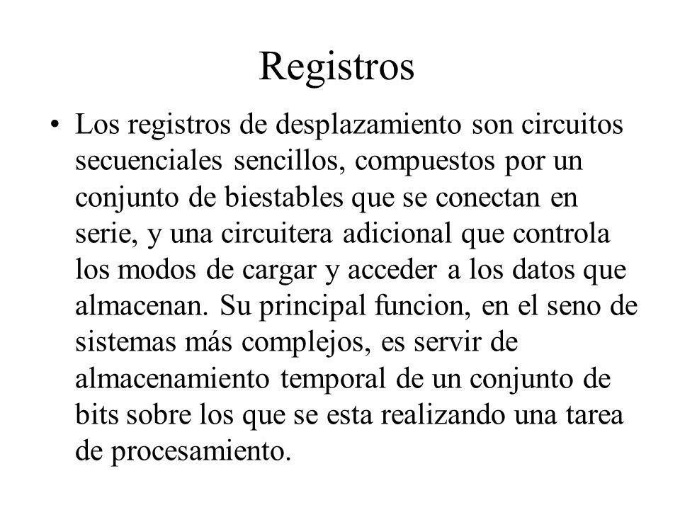 Registros Los registros de desplazamiento son circuitos secuenciales sencillos, compuestos por un conjunto de biestables que se conectan en serie, y u