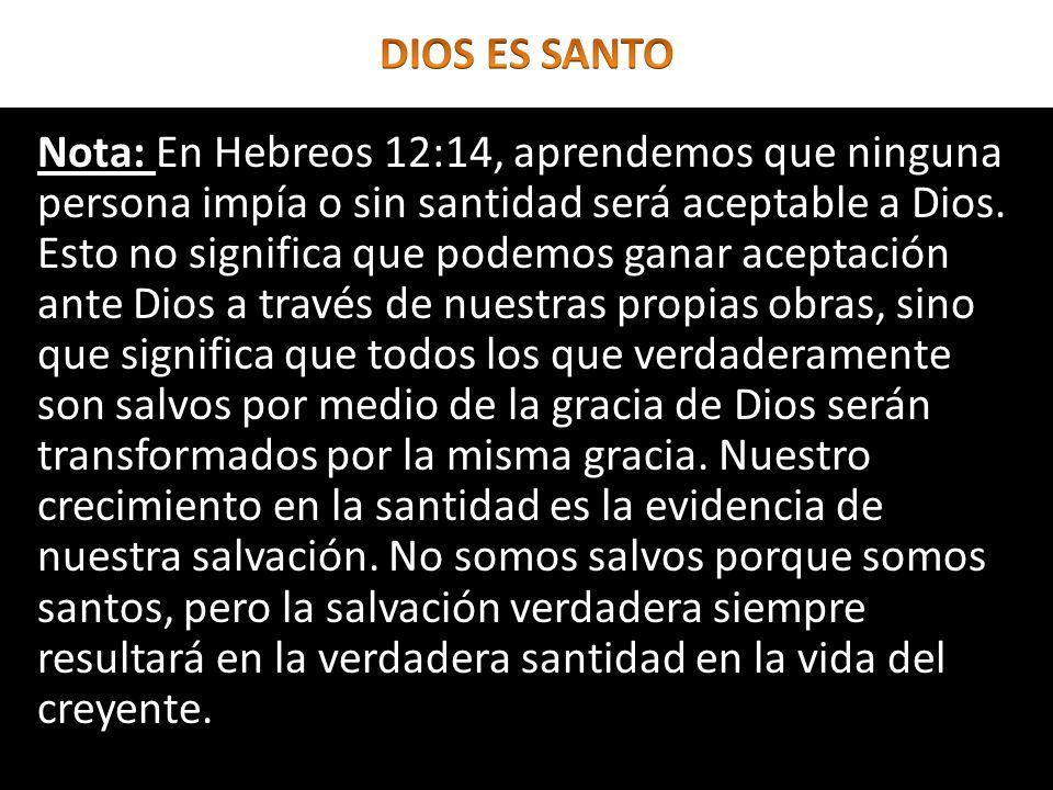 Nota: En Hebreos 12:14, aprendemos que ninguna persona impía o sin santidad será aceptable a Dios. Esto no significa que podemos ganar aceptación ante