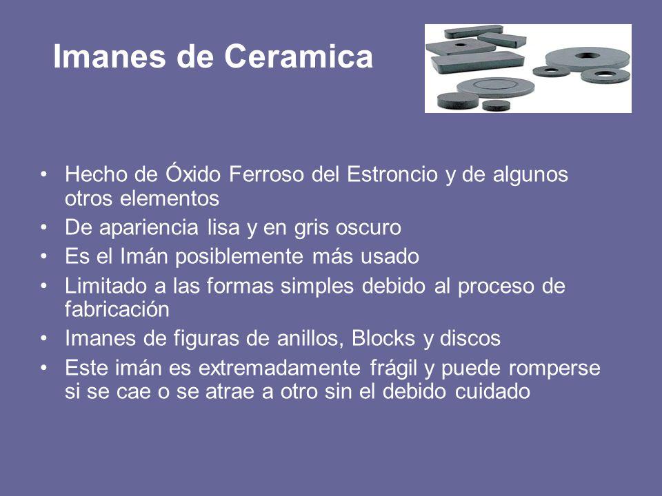 Imanes de Ceramica Hecho de Óxido Ferroso del Estroncio y de algunos otros elementos De apariencia lisa y en gris oscuro Es el Imán posiblemente más u