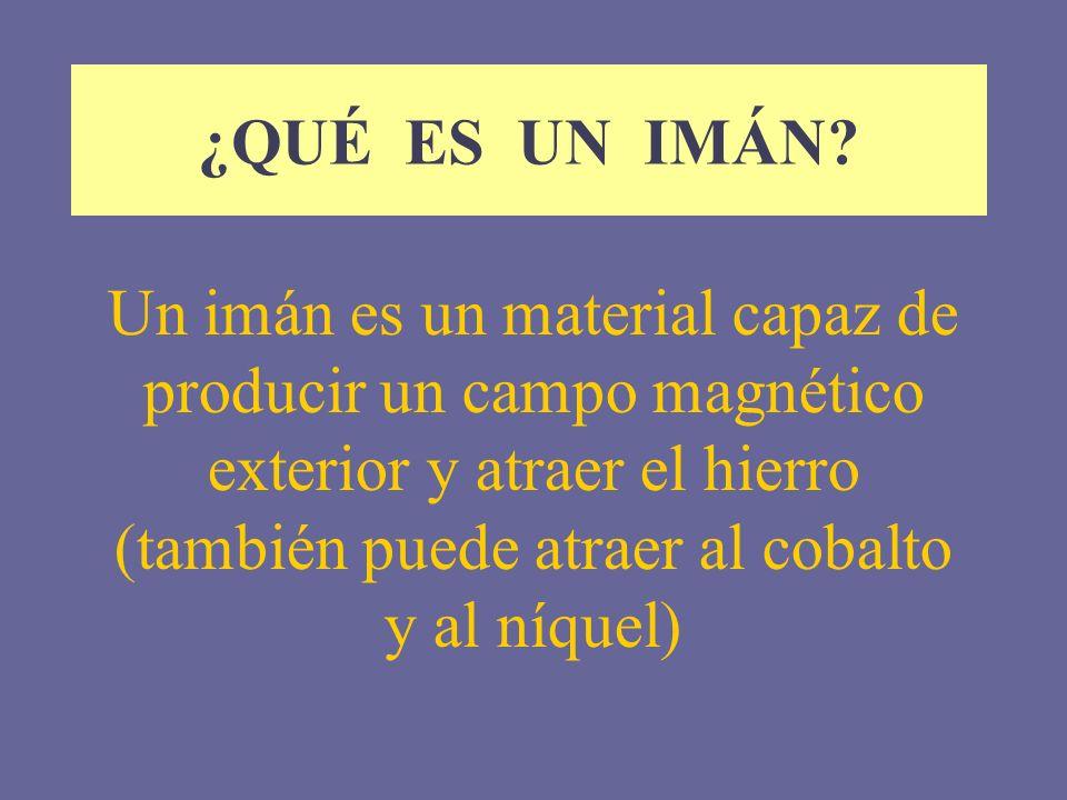 ¿QUÉ ES UN IMÁN? Un imán es un material capaz de producir un campo magnético exterior y atraer el hierro (también puede atraer al cobalto y al níquel)