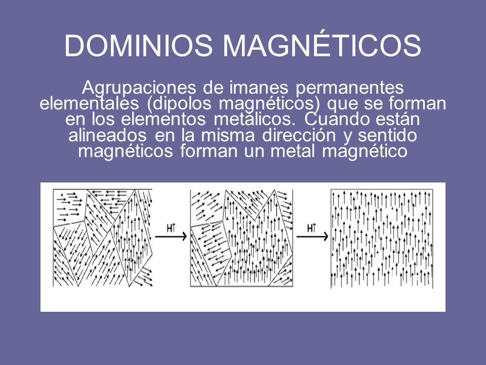 DOMINIOS MAGNÉTICOS Agrupaciones de imanes permanentes elementales (dipolos magnéticos) que se forman en los elementos metálicos. Cuando están alinead