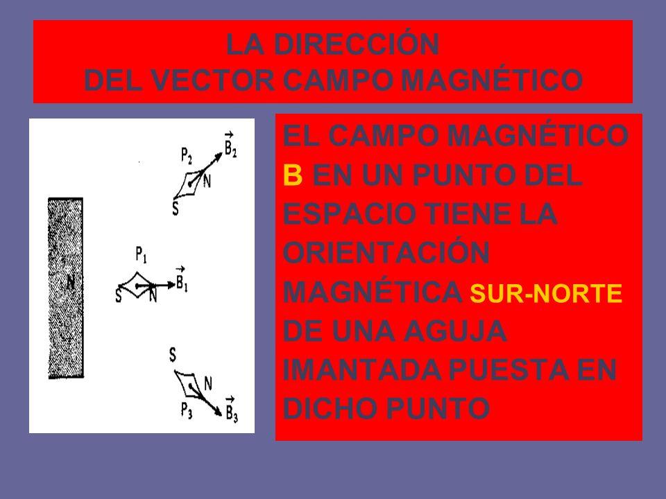 LA DIRECCIÓN DEL VECTOR CAMPO MAGNÉTICO EL CAMPO MAGNÉTICO B EN UN PUNTO DEL ESPACIO TIENE LA ORIENTACIÓN MAGNÉTICA SUR-NORTE DE UNA AGUJA IMANTADA PU