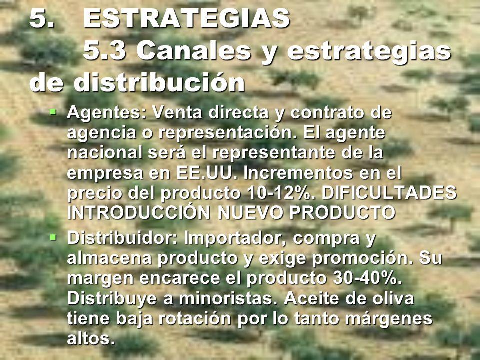 5. ESTRATEGIAS 5.3 Canales y estrategias de distribución Agentes: Venta directa y contrato de agencia o representación. El agente nacional será el rep