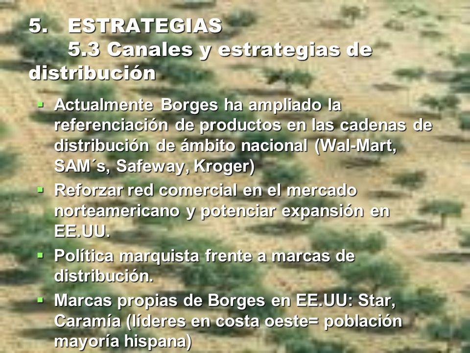 5. ESTRATEGIAS 5.3 Canales y estrategias de distribución Actualmente Borges ha ampliado la referenciación de productos en las cadenas de distribución