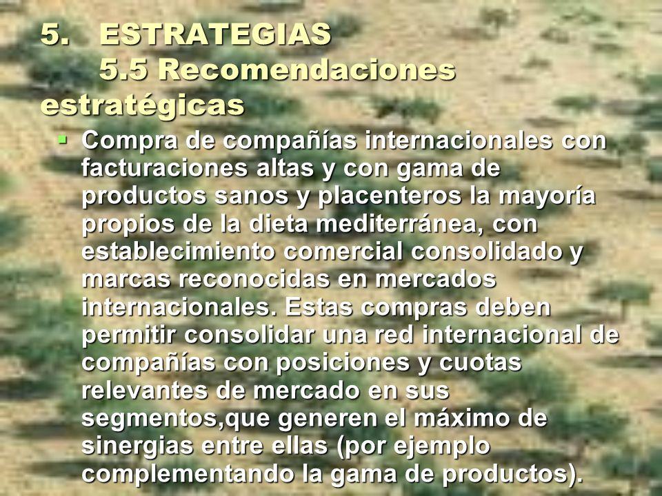 5. ESTRATEGIAS 5.5 Recomendaciones estratégicas Compra de compañías internacionales con facturaciones altas y con gama de productos sanos y placentero