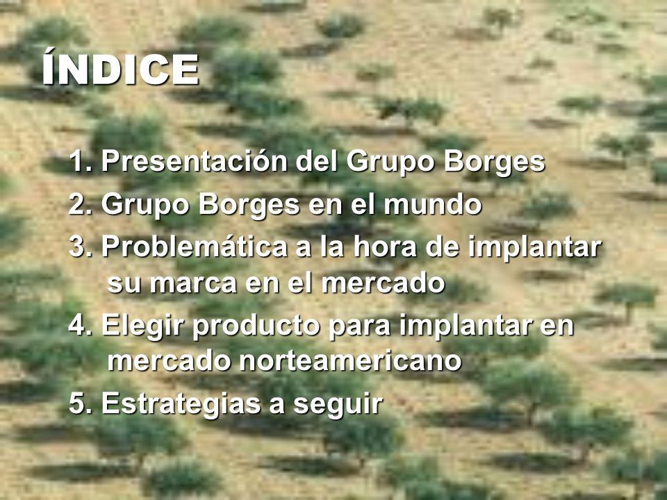 ÍNDICE 1. Presentación del Grupo Borges 2. Grupo Borges en el mundo 3. Problemática a la hora de implantar su marca en el mercado 4. Elegir producto p