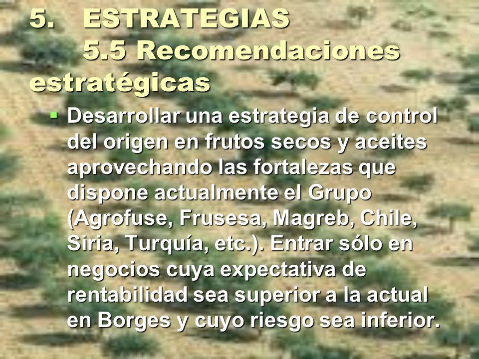 5. ESTRATEGIAS 5.5 Recomendaciones estratégicas Desarrollar una estrategia de control del origen en frutos secos y aceites aprovechando las fortalezas
