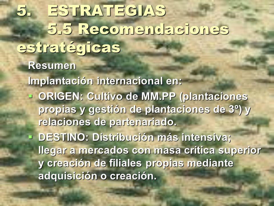 5. ESTRATEGIAS 5.5 Recomendaciones estratégicas Resumen Implantación internacional en: ORIGEN: Cultivo de MM.PP (plantaciones propias y gestión de pla