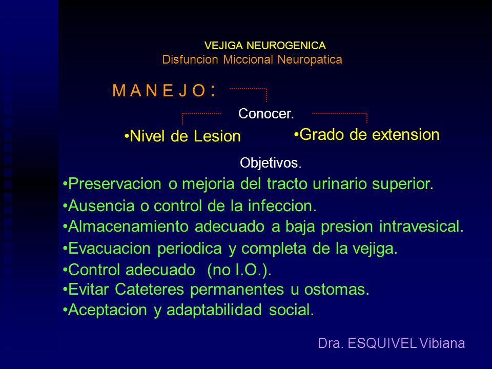 VEJIGA NEUROGENICA Dra. ESQUIVEL Vibiana Clasificacion Funcional : Disfuncion Miccional Neuropatica Vejiga Neorogenica Mixta. Existen Alteraciones tan