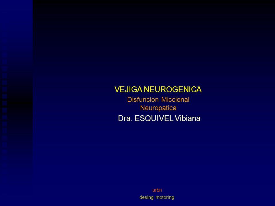 VEJIGA NEUROGENICA Dra. ESQUIVEL Vibiana Alternativa de Tratamiento Disfuncion Miccional Neuropatica C.I.L. Farmacologicos. Hiperreflexia. Arreflexia.