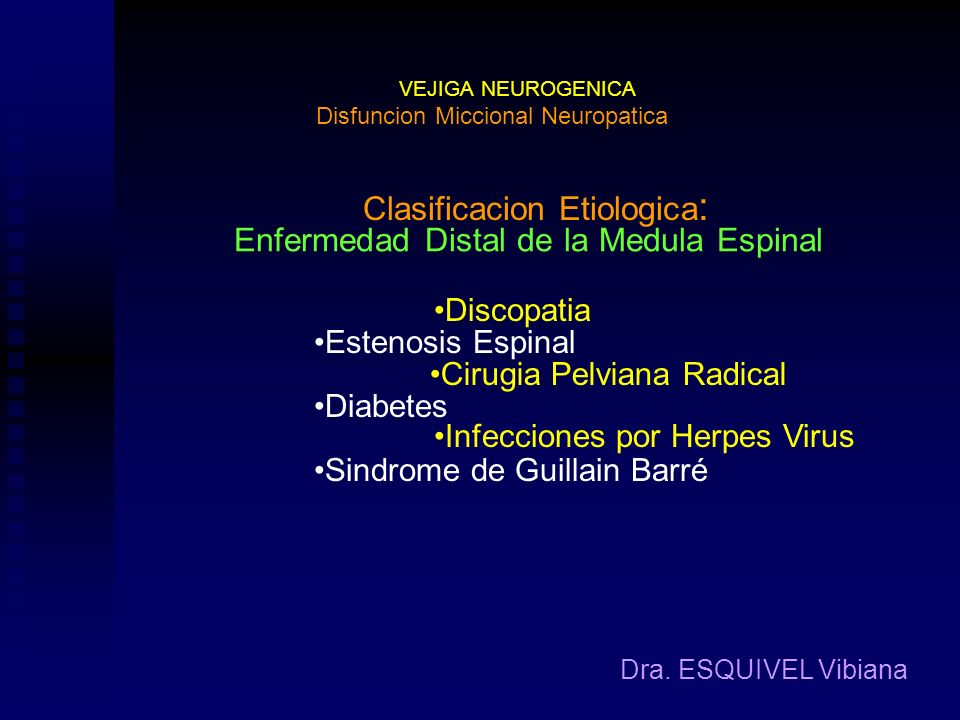 VEJIGA NEUROGENICA Dra. ESQUIVEL Vibiana Clasificacion Etiologica : Disfuncion Miccional Neuropatica Disrafismo Enfermedades de la Medula Espinal Escl