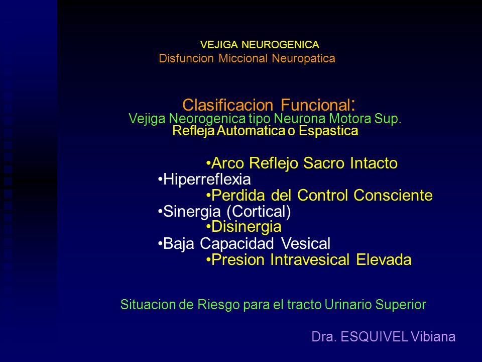 VEJIGA NEUROGENICA Dra. ESQUIVEL Vibiana Clasificacion Etiologica : Disfuncion Miccional Neuropatica Enfermedades Generales Hipotiroidismo Esquizofren