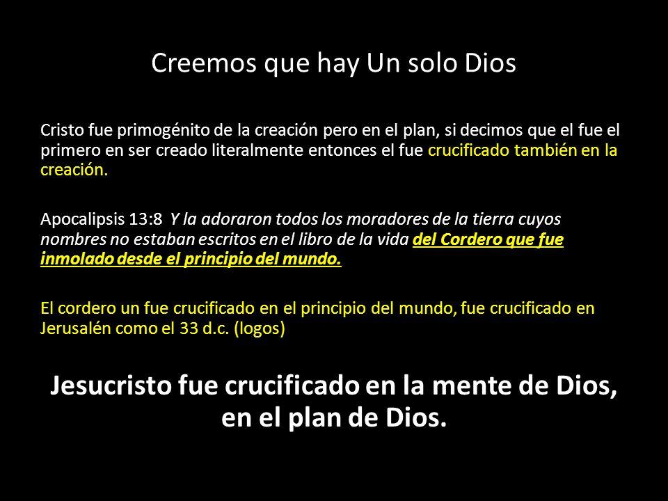 Creemos que hay Un solo Dios Cristo fue primogénito de la creación pero en el plan, si decimos que el fue el primero en ser creado literalmente entonc
