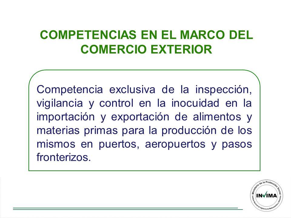 COMPETENCIAS EN EL MARCO DEL COMERCIO EXTERIOR Competencia exclusiva de la inspección, vigilancia y control en la inocuidad en la importación y exportación de alimentos y materias primas para la producción de los mismos en puertos, aeropuertos y pasos fronterizos.
