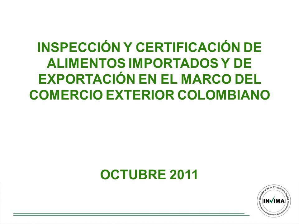 CONTENIDO Sistema de medidas sanitarias y fitosanitarias en Colombia Estructura organizativa INVIMA Importaciones y exportaciones de alimentos y materias primas Gestión de la admisibilidad sanitaria Modernidad en el servicio de inspección y certificación de alimentos orientada a agilizar el comercio internacional