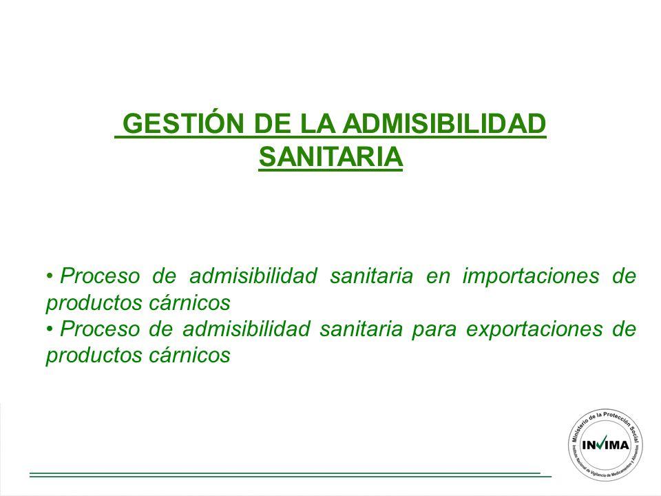 GESTIÓN DE LA ADMISIBILIDAD SANITARIA Proceso de admisibilidad sanitaria en importaciones de productos cárnicos Proceso de admisibilidad sanitaria para exportaciones de productos cárnicos