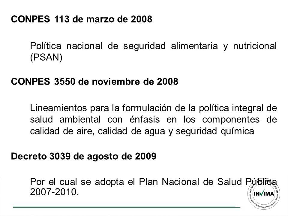 CONPES 113 de marzo de 2008 Política nacional de seguridad alimentaria y nutricional (PSAN) CONPES 3550 de noviembre de 2008 Lineamientos para la formulación de la política integral de salud ambiental con énfasis en los componentes de calidad de aire, calidad de agua y seguridad química Decreto 3039 de agosto de 2009 Por el cual se adopta el Plan Nacional de Salud Pública 2007-2010.