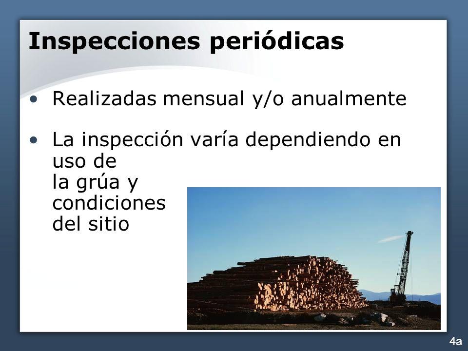 Inspecciones periódicas Realizadas mensual y/o anualmente La inspección varía dependiendo en uso de la grúa y condiciones del sitio 4a