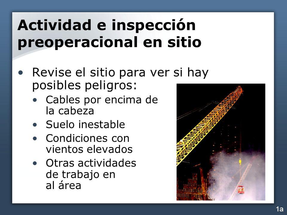 Actividad e inspección preoperacional en sitio Revise el sitio para ver si hay posibles peligros: Cables por encima de la cabeza Suelo inestable Condi