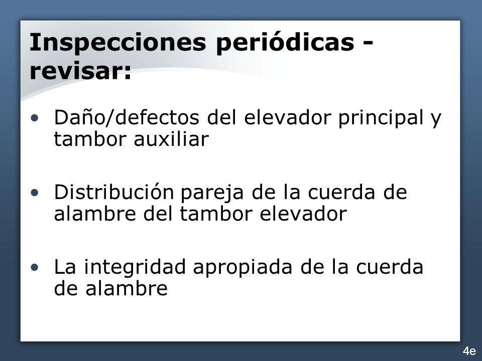 Inspecciones periódicas - revisar: Daño/defectos del elevador principal y tambor auxiliar Distribución pareja de la cuerda de alambre del tambor eleva