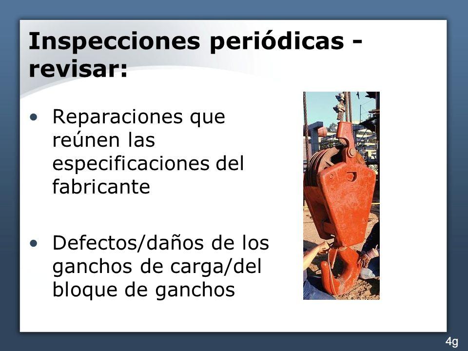 Inspecciones periódicas - revisar: Reparaciones que reúnen las especificaciones del fabricante Defectos/daños de los ganchos de carga/del bloque de ga