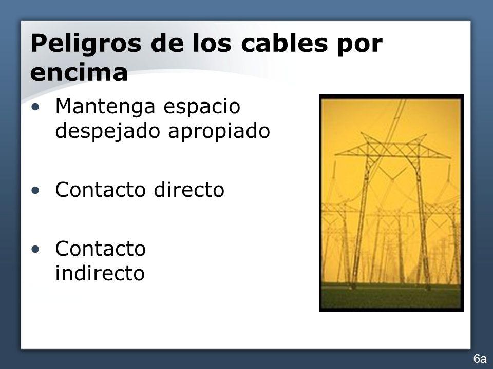 Peligros de los cables por encima Mantenga espacio despejado apropiado Contacto directo Contacto indirecto 6a
