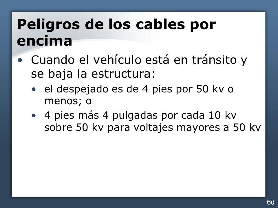 Peligros de los cables por encima Cuando el vehículo está en tránsito y se baja la estructura: el despejado es de 4 pies por 50 kv o menos; o 4 pies m