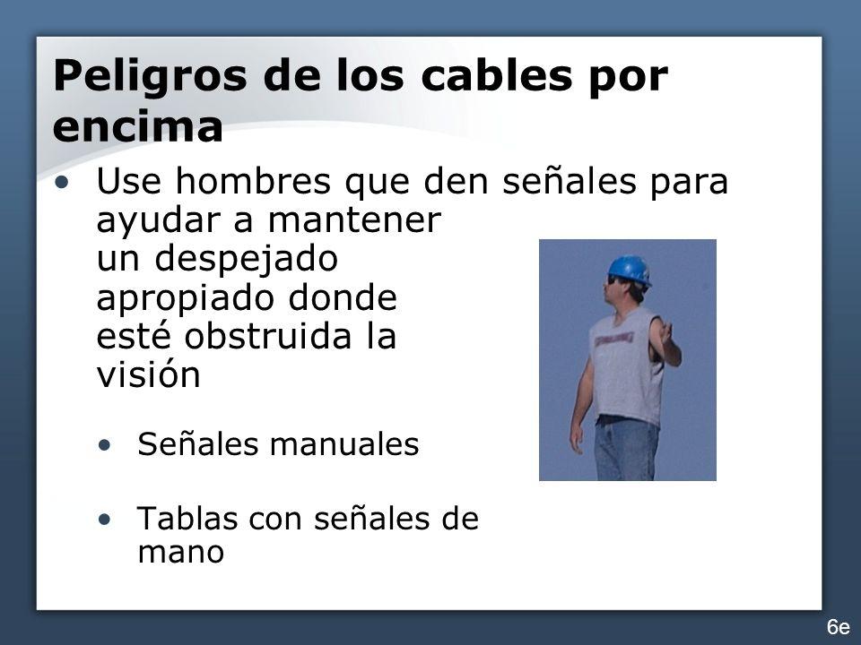 Peligros de los cables por encima Use hombres que den señales para ayudar a mantener un despejado apropiado donde esté obstruida la visión Señales man