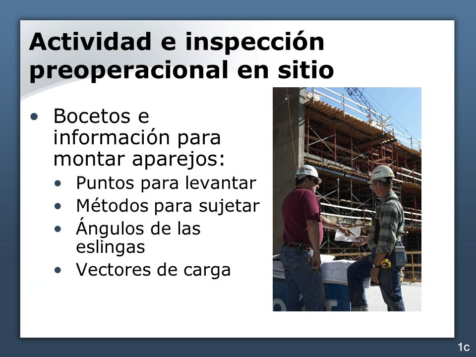 Actividad e inspección preoperacional en sitio Bocetos e información para montar aparejos: Puntos para levantar Métodos para sujetar Ángulos de las es