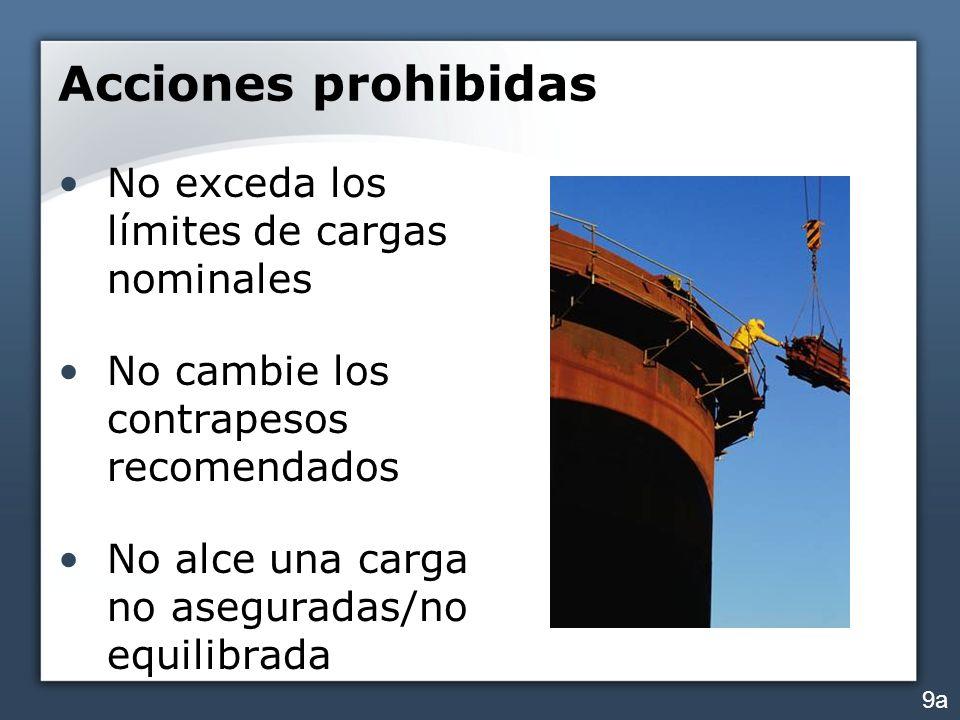 Acciones prohibidas No exceda los límites de cargas nominales No cambie los contrapesos recomendados No alce una carga no aseguradas/no equilibrada 9a