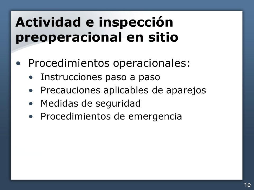 Actividad e inspección preoperacional en sitio Adiciones y modificaciones del equipo: Etiquetas, placas de instrucción, calcomanías que reflejan modificaciones Asegurarse que no se ha reducido el factor de seguridad por las adiciones/modificaciones 1f