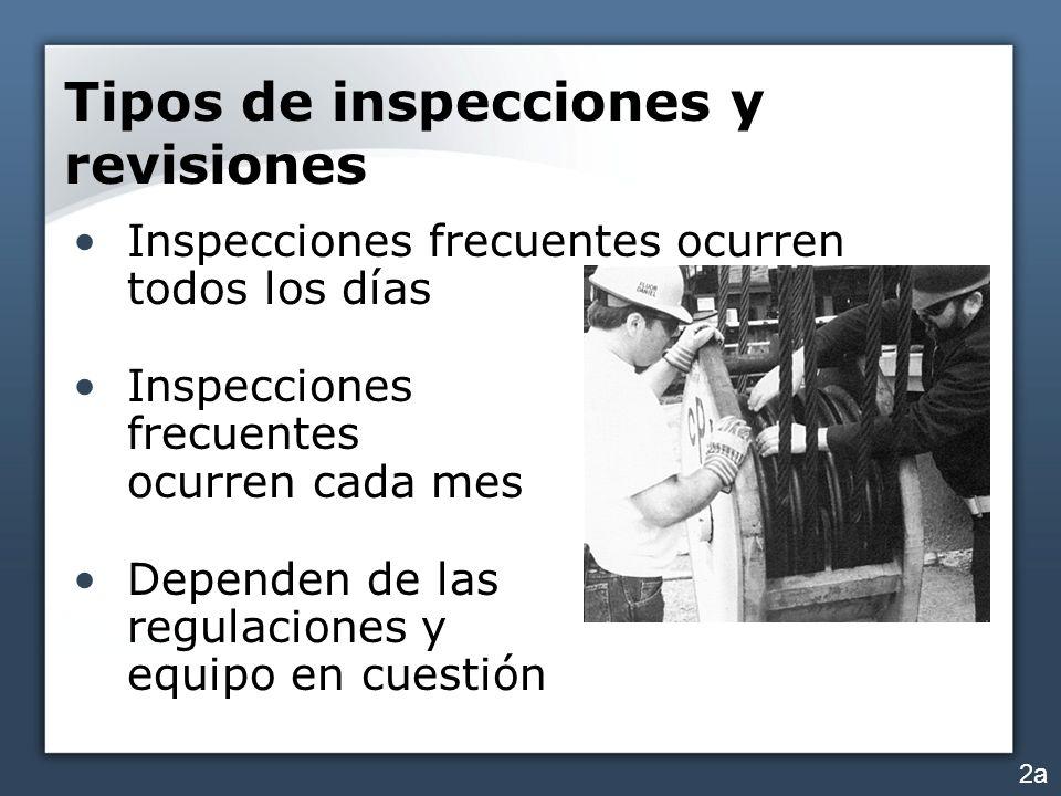 Tipos de inspecciones y revisiones Inspecciones frecuentes ocurren todos los días Inspecciones frecuentes ocurren cada mes Dependen de las regulacione