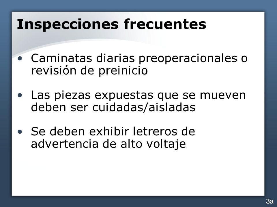 Inspecciones periódicas Los archivos de inspección deben incluir la/el: fecha de la inspección firma del inspector el número de la serie del componente crítico 4c
